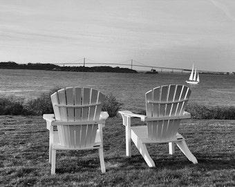 Adirondack Chairs Photograph Black & White Coastal Home Decor Newport Rhode Island Art Wedding Anniversary. Castle Hill Valentine's Day Gift