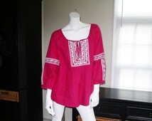 Artsy Pink Lagenlook Embroidered Cotton Bohemian Tunic Peasant Top Size 16 XL