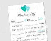 Kids table Mad-Libs- marriage advice from the Kids table! // Printable mad lib wedding advice cards