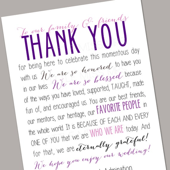 Printable wedding Reception Thank You Note / Table Notes with Menu on back // purples