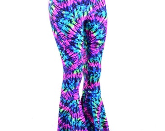 Neon Tie Dye Hippy Print Bell Bottom Flares Leggings with High Waist & Stretchy Spandex Fit  151155