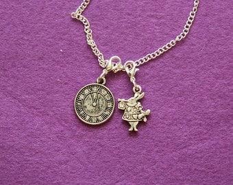 White rabbit Alice in wonderland inspired pendant