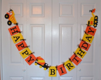 Construction Birthday Banner, Dump Truck Birthday Banner, Construction Party