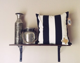SALE Texas is for Lovers Pillow Cover- B&W Stripe