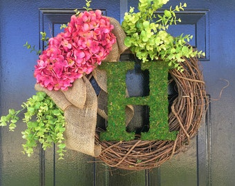 Moss monogram weath for spring and summer. spring wreath, summer wreath, door wreath, wreath for door