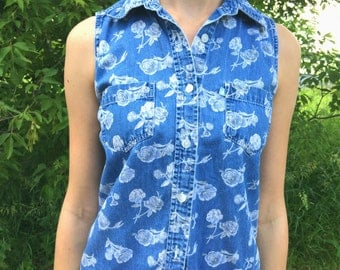 Floral Print Denim Button Up-Small