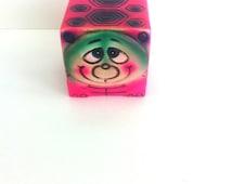 Hot Pink Turtle Vintage Piggy Bank by Norleans Japan Fluorescent Pink Green Purple
