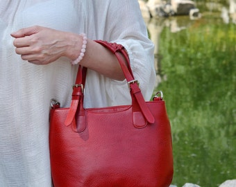 Red LEATHER TOTE BAG, Leather Bag, Leather Shoulder Bag, Leather Handbag, Leather Tote, Woman Leather Bag, Woman Leather Tote