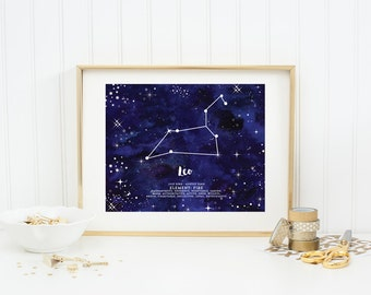 Leo Wall Art, Instant Download, Zodiac Constellation, Printable Art, Wall Art, Home Decor, Astrology Print, Constellation Print, Leo Print