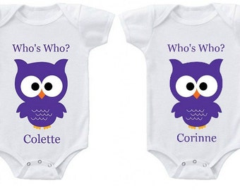 Twins Personalized Onesies | Who's Who Custom Owl Creepers | Makes a great baby shower gift!