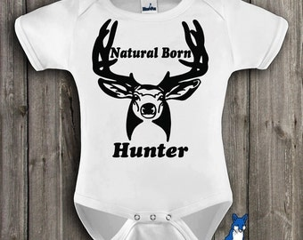 Hunting baby, infant clothing, natural born hunter, baby boy bodysuit, by BlueFoxApparel *008