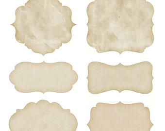 Clip Art Vintage Paper Frames Labels tags Digital Frames Digital, Old paper clipart frame Digital Border Commercial Use PNG Kraft Printables
