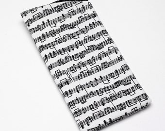 Sunglasses Case, Eyeglass Case, Glasses Case in Music Note Fabric