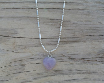 Amethyst Heart Chain Necklace