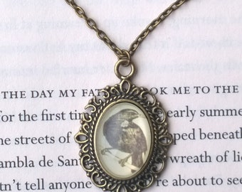 Edgar Allen Poe Raven Sealed Cameo Cabochon Necklace Choker or Chain