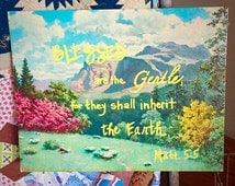 Inspirational Words- Hand Painted Signs  -Rustic Sign 11x14 Landscape scenery Mantle Decor scripture Verse Repurposed Art Sylvan Scenery