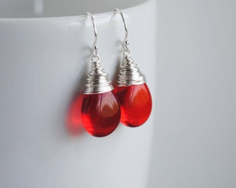 Red Earrings, Red Drop Earrings, Red Czech Glass Earrings