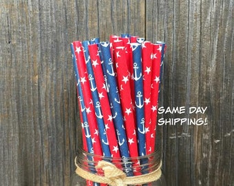 100 Red, White and Blue Anchors and Stars Paper Straws - Nautical or Patriotic Party Supply, Free Shipping!