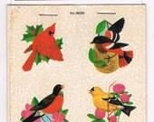 SALE! Vintage DENNISON Song Bird Stickers -  Dennison Sticker Booklet - Blue Jay - Cardinal - Robin
