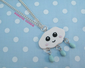 Rain Cloud necklace with Rain Drops cute polymer clay pendant