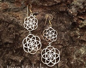 Brass Seed of Life Drop Earrings, Sacred Geometry Flower of Life Elegant Lightweight Adornment