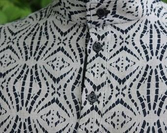 Naturleinen mit handgefertigten Herrenhemd schwarz print Kurzarm