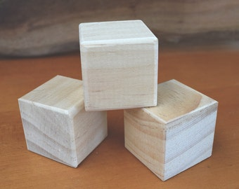 Wooden block craft blanks - set of three - 7cm (2.75 INCH) solid wooden blocks - DIY - wooden craft supply