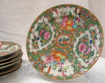 "antique 1850's Rose Medallion China 8.5"" plate - 7 available"
