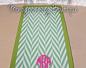 Monogrammed Personalized Lightweight Microfibre Herringbone Mint Chevron Beach Towel