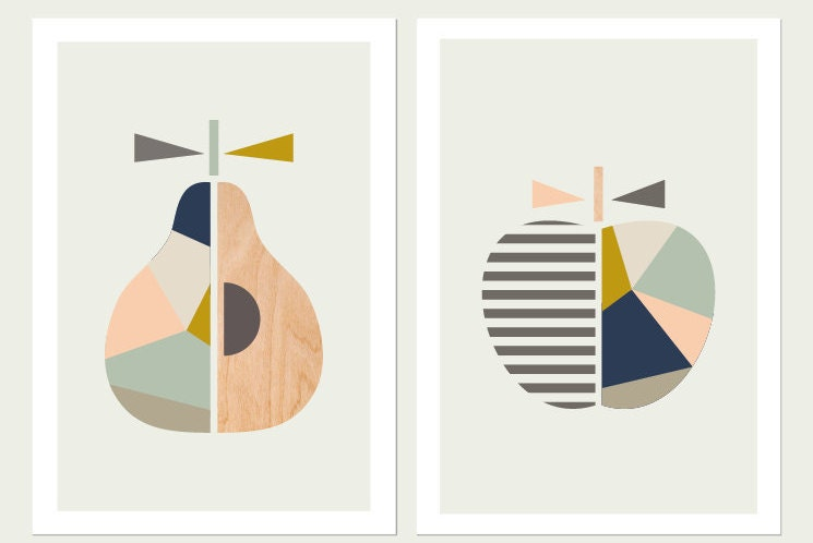 Apple Pear Printspink And Blueseries Of Two Scandinavian