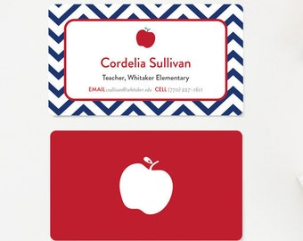 Teacher Business Card, Calling Cards, Mommy Card, Gift for Teachers, Stationery, Educator Business Card, Tutor Navy and Red Chevron Apple