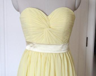 Golden Bridesmaid Dress Short/Floor-length Sweetheart Chiffon Bridesmaid Dress - Custom Dress