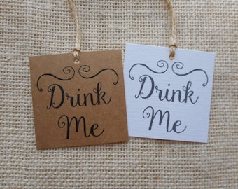 "drink me tags, printable wedding favor tags, drink me printable tags, digital favor tags, digital drink me tags, you print, 2"" x 2"""