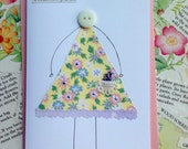 Button Girl.....Handcrafted Thank You Greeting Card