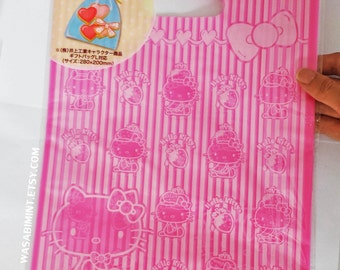 Hello Kitty Pink Stripes: Plastic Bag (L) - 6pc