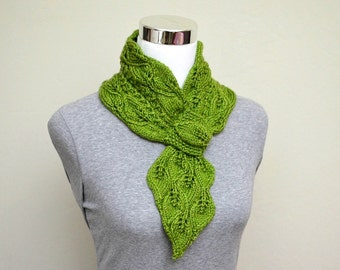 Knitting Pattern Only - Leaves and Mock Cables Scarf