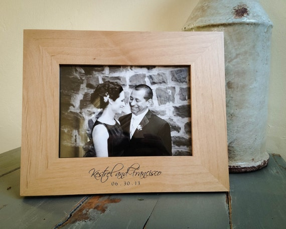 5x7 personalized picture frame engraved wood frame wedding anniversary new baby