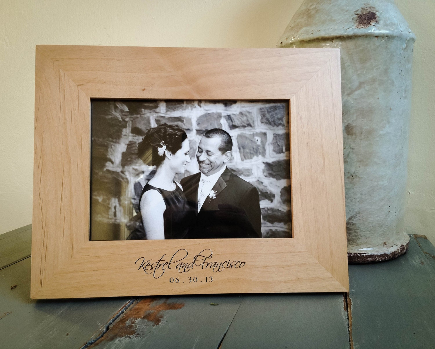 5x7 Personalized Picture Frame. Engraved Wood Frame. Wedding.