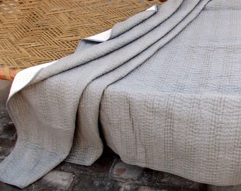 Grey quilted bedspread, stripe pattern, cotton kantha quilt, 100% cotton, 90X108 inches