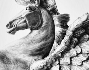 Pegasus Study Number 3 - Pegasus Statue Photo Print or Card