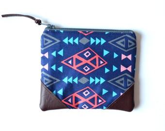 Aztec Zipper Wallet, Tribal Coin Purse, Blue Change Wallet, Small Zipper Pouch, Small Purse Organizer, Blue Coin Pouch, Small Leather Purse