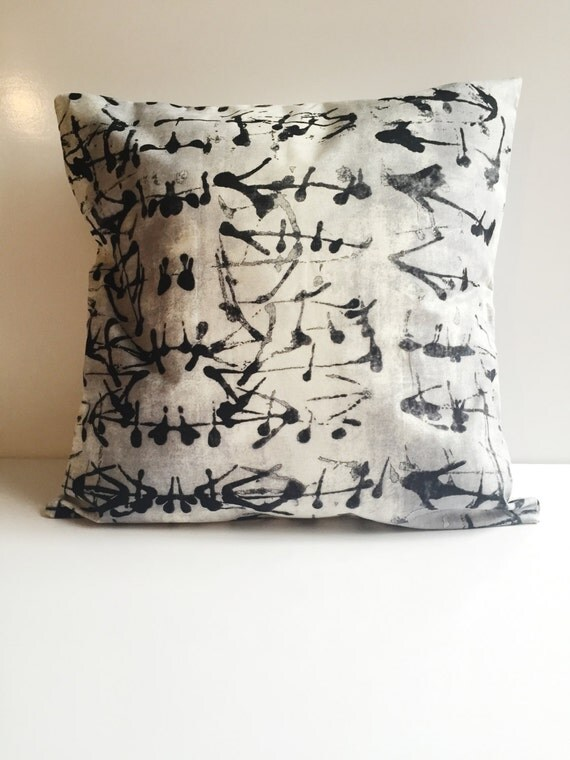 Black and White Ink Spot Printed Pillow Cover 15x15