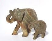 Vintage Elephants, Marble Elephants, Mama & Baby Elephant, Stone Elephants, Elephant Family, Stone Elephants