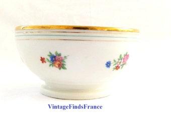 french cafe au lait bowl tiny flowers CG Limoges porcelain