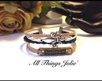 New Orleans Saints Silver Fleur De Lis and Bronze Believe Black Leather Braid Wrap Karma Bracelet
