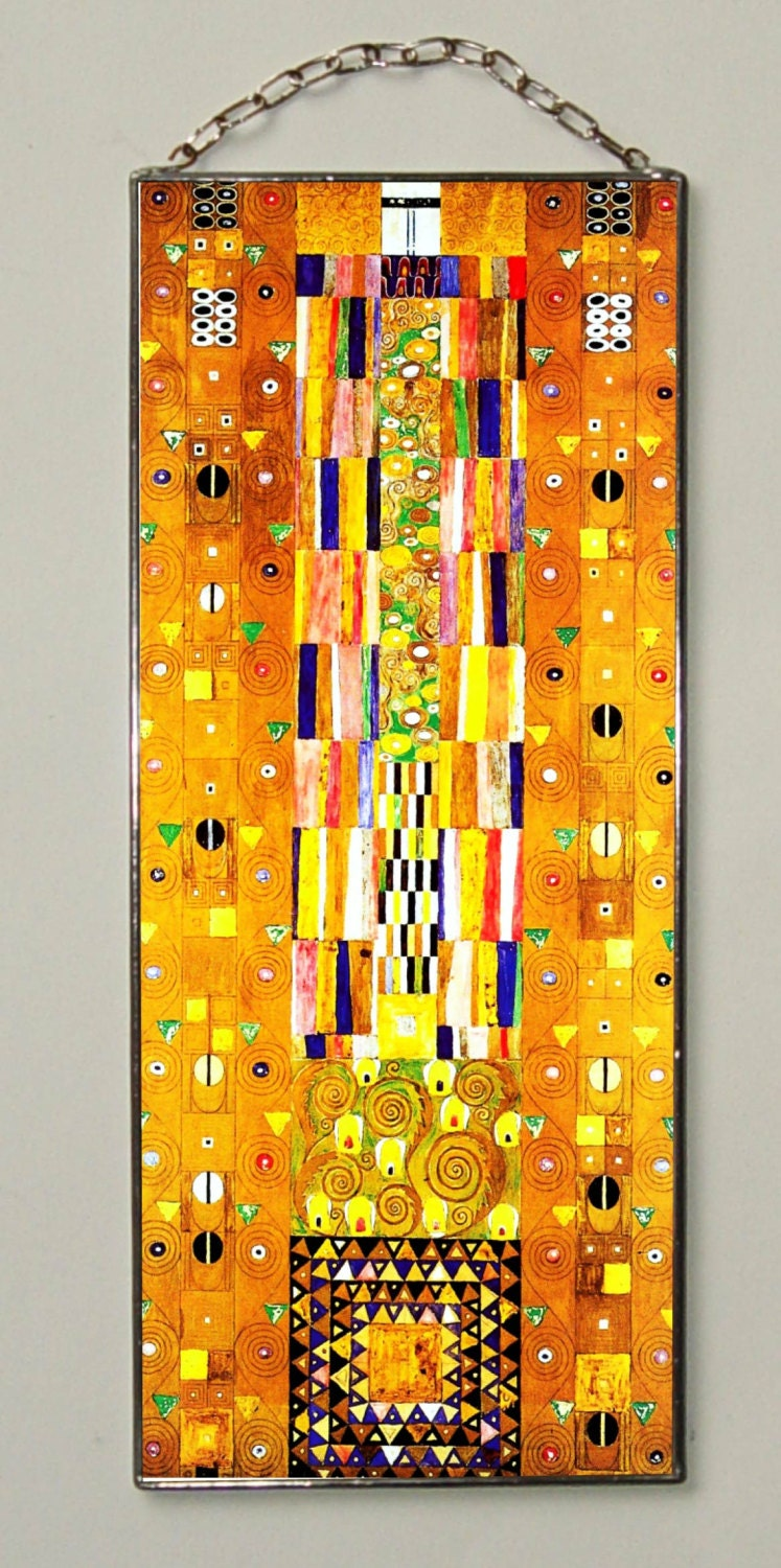 Gustav Klimt Pattern For The Stoclet Frieze Stained Glass