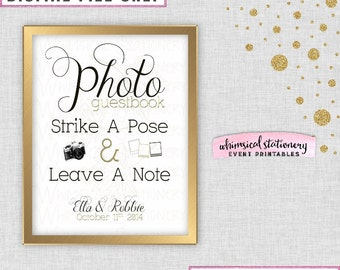 Fall Photo Guest Book Sign for Wedding (Printable File Only) Strike a Pose Wedding Alternative Guest Book Fall Leaf Faux-Metallic Gold