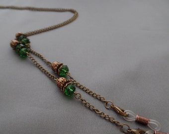 Green Crystal Eyeglasses Chain - Eyeglasses Chain -   Eyeglasses Holder - Eyeglasses Leash - Lanyard