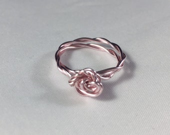 Rose Pink Wire Wrap Knot Ring