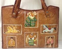 Free Ship Tooled Leather Purse W/ Asian Ladies Buddha & Horses Handbag